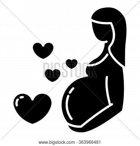 Pregnancy Care Glyph Icon. Prenatal Period. Motherhood, Parenthood. Expecting Baby, Child. Gynecolog