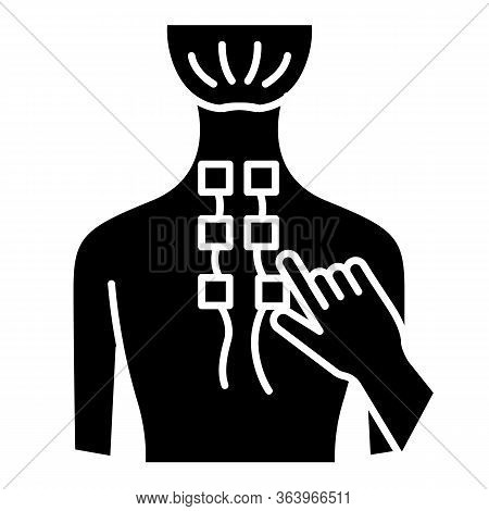 Physiotherapy Glyph Icon. Medical Procedures. Physical Therapy. Healthcare. Back Pain Relief. Injury