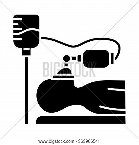 Anesthesia Glyph Icon. Medical Procedure. Apnea Stage. Liquid Induction. Patient Unconscious On Bed.