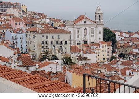 Santo Estevao Church In Alfama Neighbourhood In Lisbon - Portugal