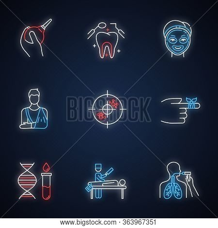 Medical Procedure Neon Light Icons Set. Healthcare. Orthopedic Cast. Immunotherapy. Dental Care. Cos