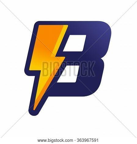 Modern Logo Design Letter B Combine With Lightning In Gradient Color.