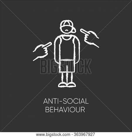 Anti-social Behaviour Chalk Icon. Harassment And Bullying. Teenager Depression. Agressive Public. An