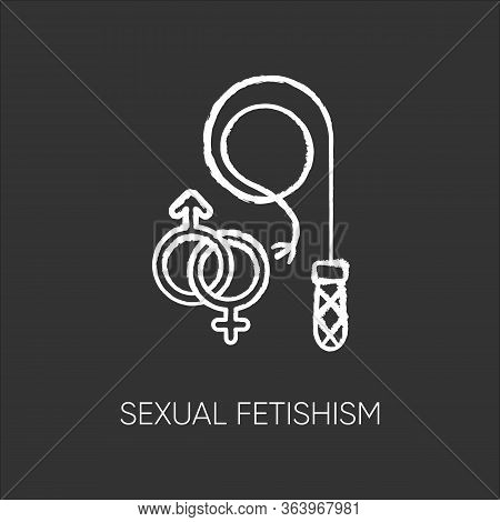 Sexual Fetishism Chalk Icon. Male And Female Erotic Play. Sex Toy Stimulation. Kinky Relationship. S