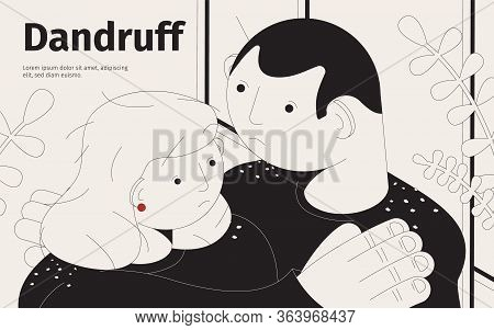 Dandruff Isometric Background With Human Characters Of Couple Suffering From Dandruff Hair Problems