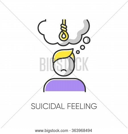 Suicidal Feeling Color Icon. Depressive Thoughts. Vulnerable Person. Pain And Worry. Anxiety. Hang A