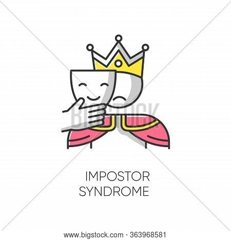 Impostor Syndrome Color Icon. Sad Man With Smile Mask. Fraud, Doubt. Impostorism Experience. Hypocri
