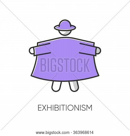 Exhibitionism Color Icon. Nude Body Exposure. Pervert In Open Coat. Deviation And Perversion. Inappr