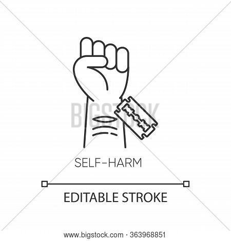 Self-harm Linear Icon. Cut Hand With Razor Blade. Mental Disorder. Hurt Vein. Self-inflicted Violenc