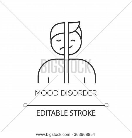 Mood Disorder Linear Icon. Manic, Depressive Episodes. Dysthymia, Cyclothymia. Emotional Swing. Ment