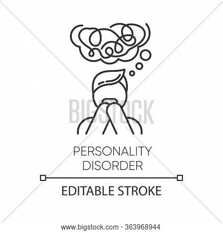 Personality Disorder Linear Icon. Maladaptive Behaviour. Deviation. Mental Health Issue. Anxiety And