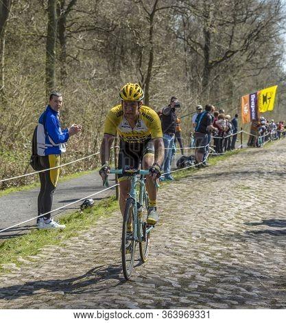 Wallers,france - April 12,2015: The Dutch Cyclist, Rick Flens Of Lottonl-jumbo Team Riding On A Cobb