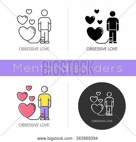 Obsessive Love Icon. Possessive Relationship. Attachment To Lover. Extreme Behaviour. Compulsive Aff