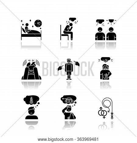 Mental Disorder Drop Shadow Black Glyph Icons Set. Sleep Deprivation. Depression. Stress, Ptsd. Anti