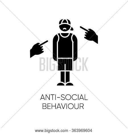 Anti-social Behaviour Glyph Icon. Harassment And Bullying. Teenager Depression. Agressive Public. An
