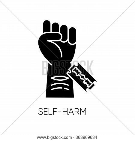 Self-harm Glyph Icon. Cut Hand With Razor Blade. Open Wound. Mental Disorder. Nonsuicidal Injury. Hu