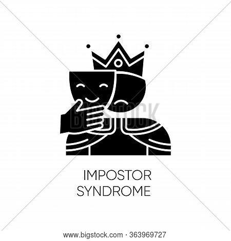 Impostor Syndrome Glyph Icon. Sad Man With Smile Mask. Fraud, Doubt. Impostorism Experience. Hypocri