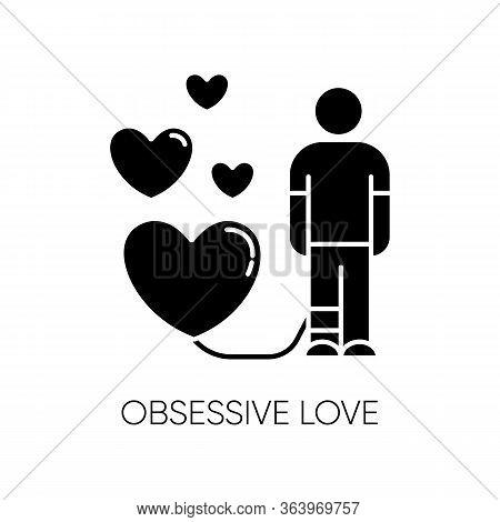 Obsessive Love Glyph Icon. Possessive Relationship. Attachment To Lover. Extreme Behaviour. Compulsi