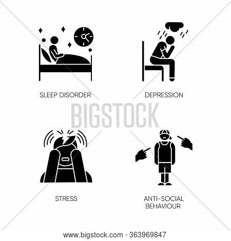 Mental Disorder Glyph Icons Set. Sleep Deprivation. Depression And Anxiety. Stress. Anti-social Beha