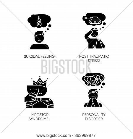Mental Disorder Glyph Icons Set. Suicidal Feeling. Post Traumatic Stress. Impostor Syndrome. Persona
