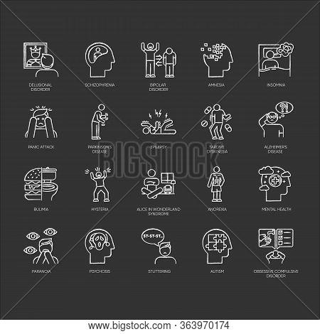 Mental Disorder Chalk Icons Set. Delusions, Schizophrenia. Amnesia, Insomnia. Bipolar Disorder. Buli