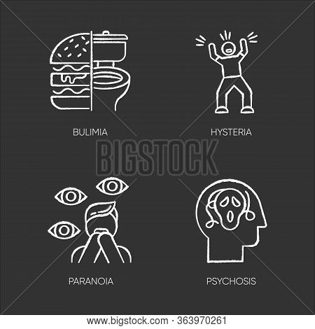 Mental Disorder Chalk Icons Set. Bulimia. Eating Disorder. Hysteria. Panic Attack. Anxiety, Depressi