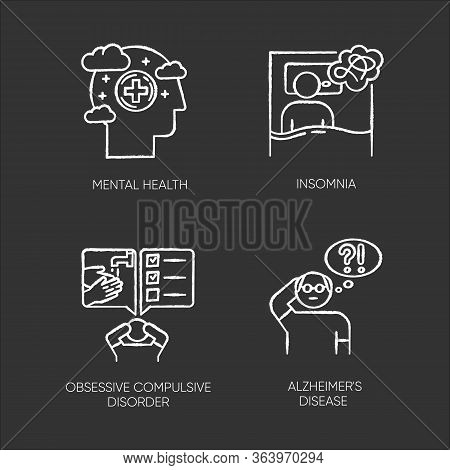 Mental Disorder Chalk Icons Set. Insomnia, Sleep Deprivation. Obsessive-compulsive Syndrome. Alzheim