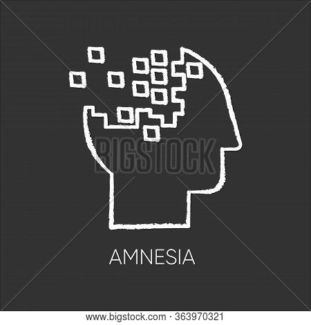 Amnesia Chalk Icon. Memory Loss. Forgetting From Brain Injury. Trouble With Remembering. Korsakoff S