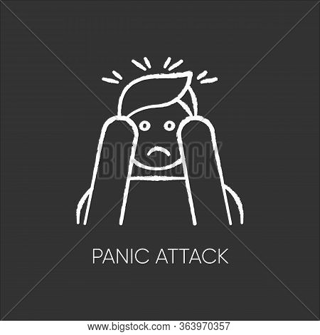 Panic Attack Chalk Icon. Anxiety And Depression. Paranoia And Phobia. Migraine From Stress. Person A