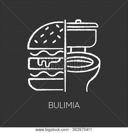 Bulimia Chalk Icon. Eating Disorder. Depression And Anxiety. Vomiting Food In Bathroom. Unhealthy Hu