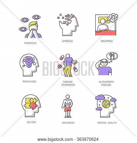 Mental Disorder Color Icons Set. Paranoia, Psychosis. Amnesia, Insomnia. Tardive Dyskinesia. Alzheim