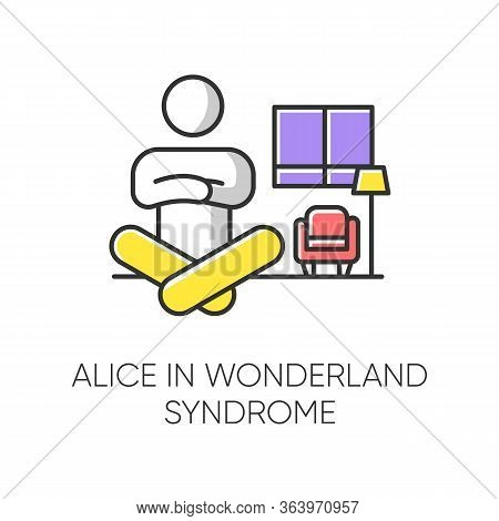 Alice In Wonderland Syndrome Color Icon. Visual Perception. Size Distortion. Dysmetropsia. Impaired