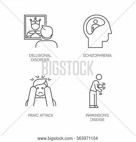 Mental Disorder Linear Icons Set. Delusional Person. Schizophrenia. Panic Attack. Parkinson Disease.