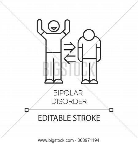 Bipolar Disorder Linear Icon. Manic, Depressive Episodes. Split Personality. Mood Change. Mental Hea