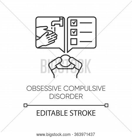 Obsessive-compulsive Disorder Linear Icon. Thinking Under Pressure. Perfectionist. Mental Health Iss
