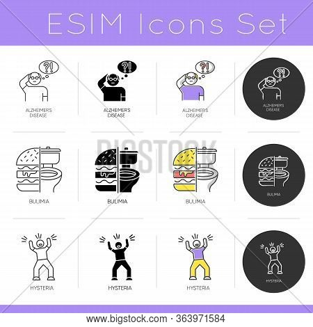 Mental Disorder Icons Set. Alzheimeirs Disease. Bulimia And Binge Eating. Hysteria. Psychology And P