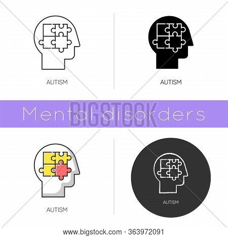 Autism Icon. Puzzled Mind. Neurology And Psychiatry. Children Illness Support. Different Thinking. A