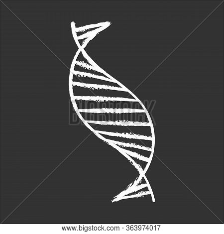 Dna Spiral Strand Chalk Icon. Deoxyribonucleic, Nucleic Acid Helix Stripes. Chromosome. Molecular Bi