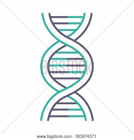 Dna Helix Violet And Turquoise Color Icon. Deoxyribonucleic, Nucleic Acid Structure. Spiraling Stran