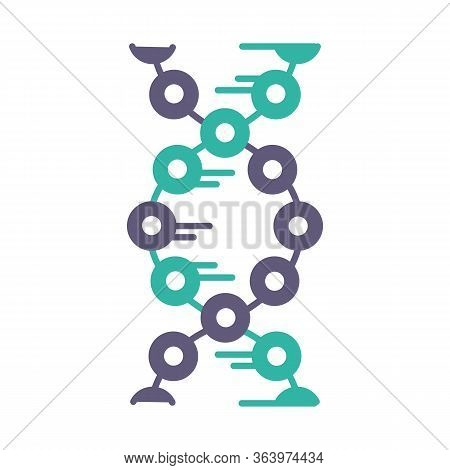 Dna Strands Violet And Turquoise Color Icon. Connected Circles, Lines. Deoxyribonucleic, Nucleic Aci