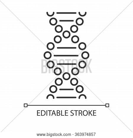Dna Spiral Linear Icon. Connected Dots, Lines. Deoxyribonucleic, Nucleic Acid Helix. Chromosome. Gen