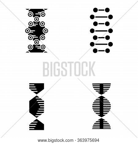 Dna Spiral Chains Glyph Icons Set. Deoxyribonucleic, Nucleic Acid Helix. Spiraling Strands. Chromoso