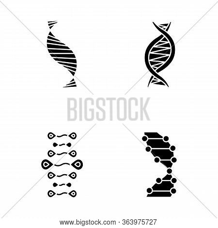 Dna Strands Glyph Icons Set. Deoxyribonucleic, Nucleic Acid Helix. Spiraling Strands. Chromosome. Mo