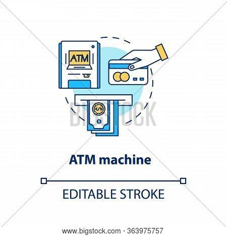 Atm Machine Concept Icon. Bankomat Idea Thin Line Illustration. Cashpoint, Cashline. Money Withdrawa