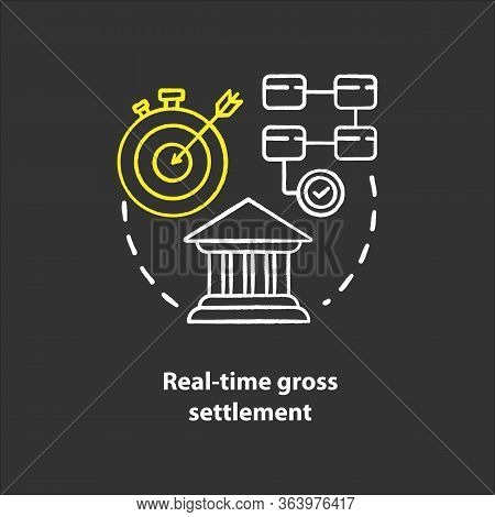 Real Time Gross Settlement Chalk Concept Icon. Funds Transfer Procedure Idea. Rtgs. Payment Settling