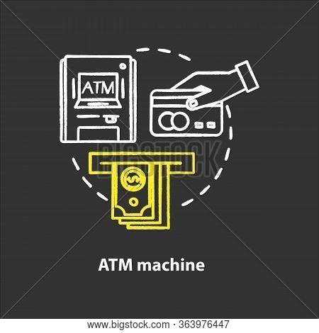 Atm Machine Chalk Concept Icon. Bankomat Idea. Cashpoint, Cashline. Money Withdrawal. Financial Oper
