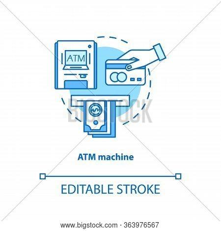 Atm Machine Turquoise Concept Icon. Bankomat Idea Thin Line Illustration. Cashpoint, Cashline. Money