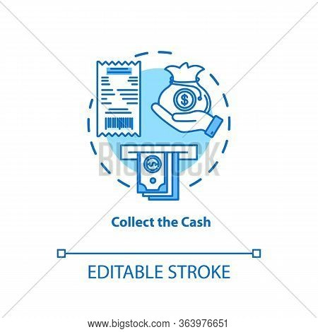 Collect Cash Turquoise Concept Icon. Money Withdrawal Idea Thin Line Illustration. Atm Transaction S