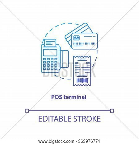 Pos Terminal Blue Gradient Concept Icon. Terminal Idea Thin Line Illustration. Electronic Device. Fi