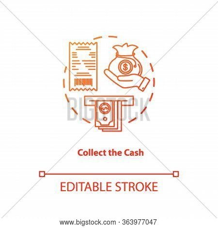 Collect Cash Red Gradient Concept Icon. Money Withdrawal Idea Thin Line Illustration. Atm Transactio